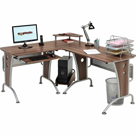 Large Corner Computer and Gaming Desk Table with Keyboard Shelf and CPU Trolley for Home Office in Dark Walnut - Piranha Furniture PC 21w - Dark Walnut