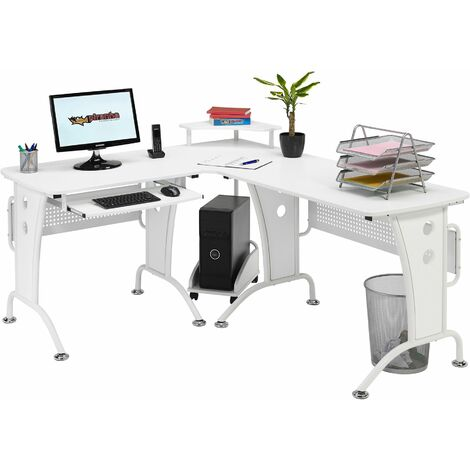 Large Corner Computer and Gaming Desk Table with Keyboard Shelf and CPU Trolley for Home Office in White Woodgrain - Piranha Furniture PC 21s - White Woodgrain