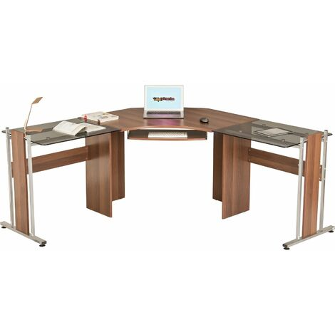 Large Corner Computer Desk Office Table with Glass Wings for Home Gamers Students Work Dark Walnut - Piranha Furniture Frigate - Dark Walnut