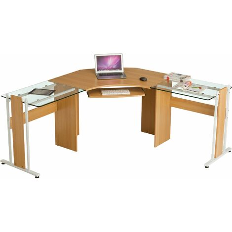 Large Corner Computer Desk Office Table with Glass Wings for Home Gamers Students Work Oak Effect - Piranha Furniture PC 42o - Oak
