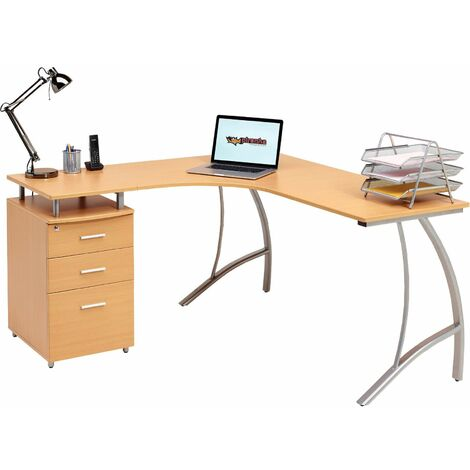 Large Corner Computer Desk with 3 Drawers and A4 Filing Matching other Piranha Beech Effect Home Office Furniture - Regal - Beech