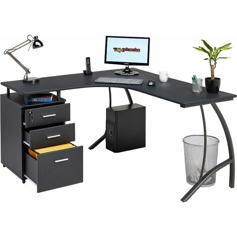 Large Corner Computer Desk with 3 Drawers and A4 Filing Matching other Piranha Graphite Black Effect Home Office Furniture - Regal - Graphite Black