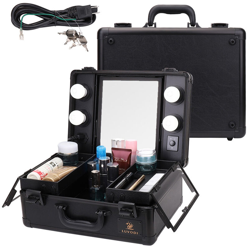 Image of Large Cosmetics Beauty Make up Case Hairdressing Vanity Box with Lights Mirror, Black