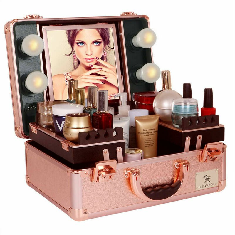 Image of Large Cosmetics Beauty Make up Case Hairdressing Vanity Box with Lights Mirror, Rose Gold