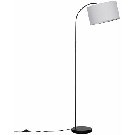 Large Curved Black Floor Lamp With Large Reni Shade + LED Bulb - Abstract Face