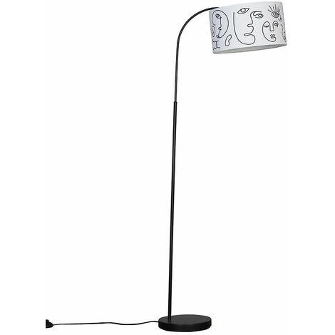 Large Curved Black Floor Lamp With LED Bulb - French Blue - Black