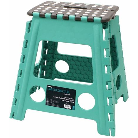 JVL Large Folding Step Stool, Turquoise