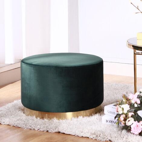 Large Footstool Velvet Pouffe Foot Stool Ottoman Poof Stool Dressing Table Stool - Pink
