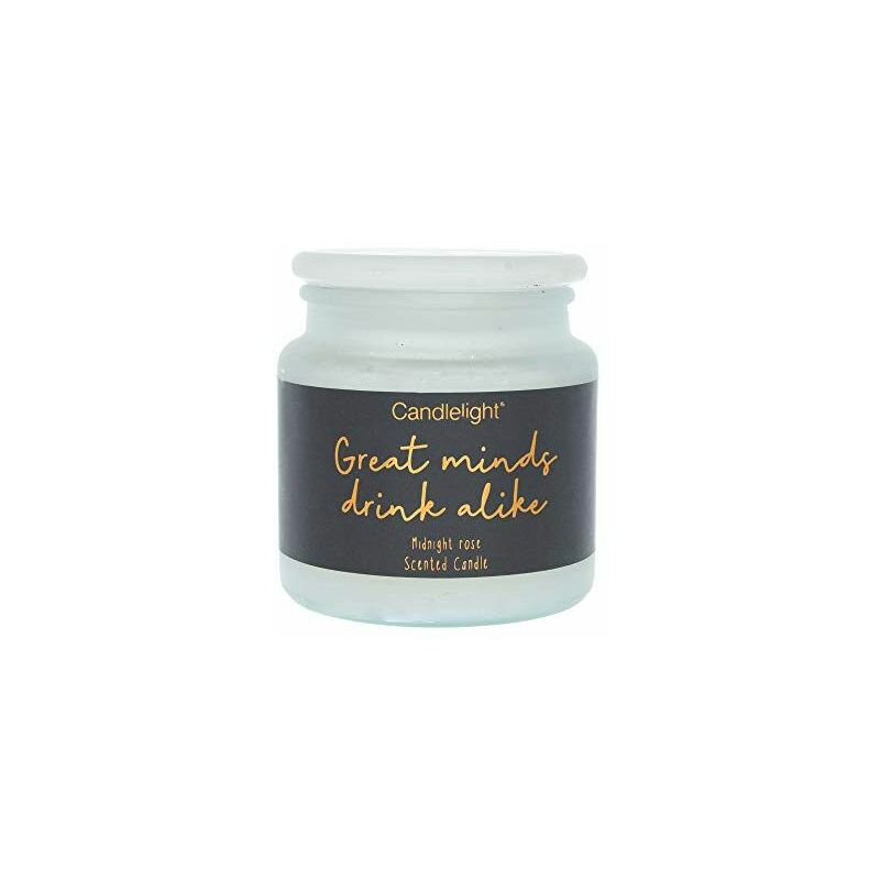 Image of Large Frosted Glass Wax Filled Jar 'Great Minds Drink Alike' - Midnight Rose Scent