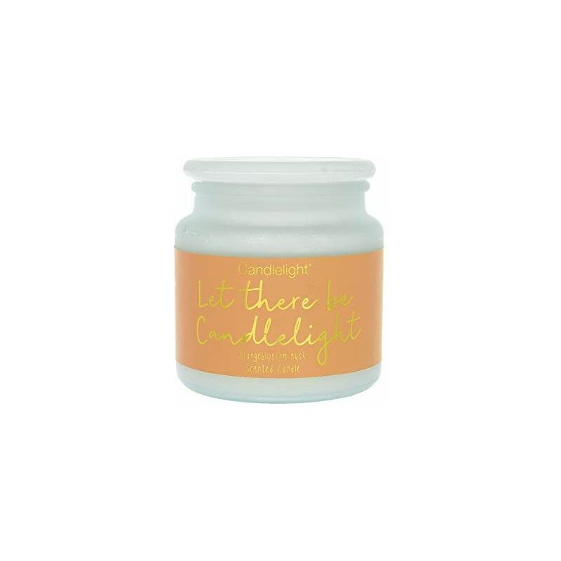 Image of Large Frosted Wax Filled Glass Jar Let There Be Candlelight - Orangeblossom Musk Scent
