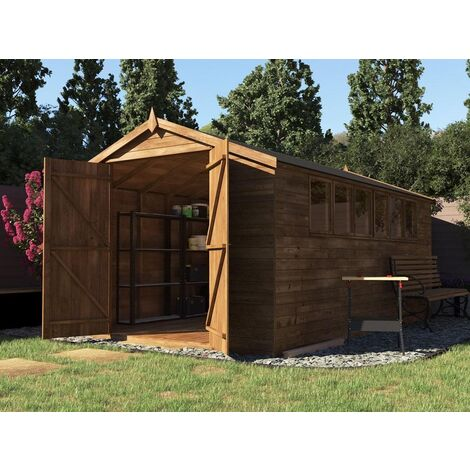 Large Garden Shed Latli - Heavy Duty Pressure Treated Tool Bike Lawnmower Storage