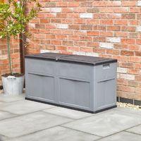 Large Garden Storage Chest Box Dark Grey