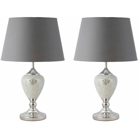 Large Glam 59cm Chrome with Mirrored Crackle Glass & Grey Shade Table Lamp