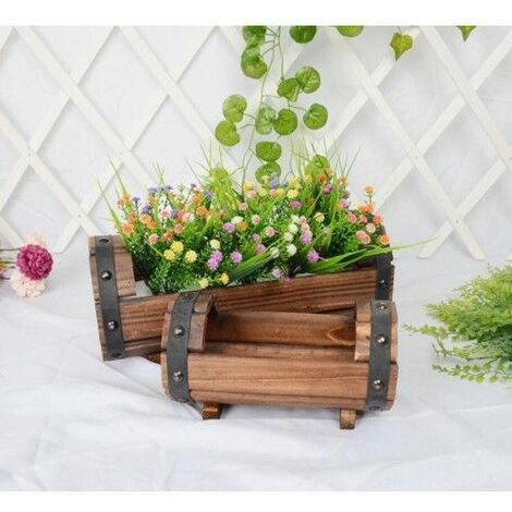 Large Halfbucket Wooden Barrel flower pot