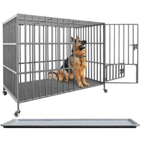 Large Heavy Duty Pet Dog Cage Strong Metal Crate Kennel Playpen with Wheels & Tray