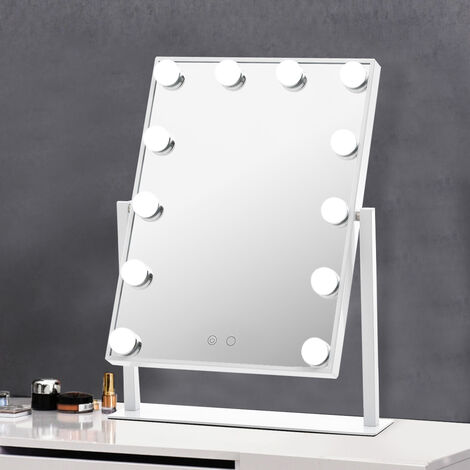 Large Hollywood Makeup Dressing Mirror With 12 LED Light Touch Dimmable Bulb