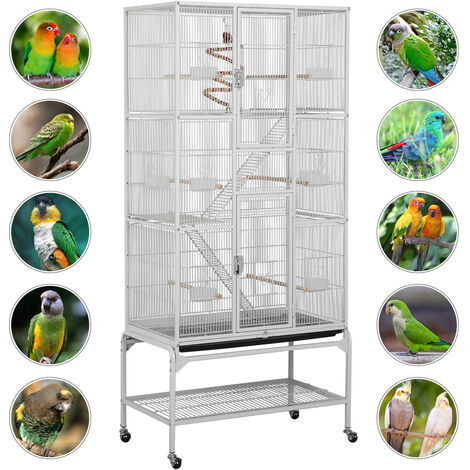Large Iron Bird Cage Parrot Cockatoo Macaw Cage w/ Perches Stand and Wheels