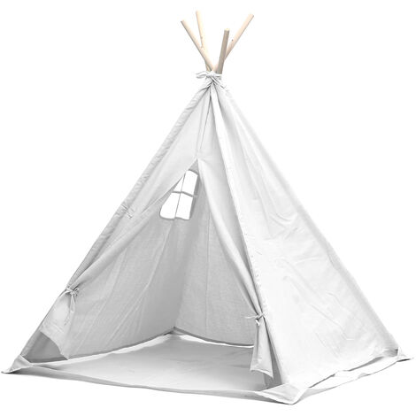 Large Kids Tent Teepee Wooden Playhouse Outdoor Camping Toys Gift 1.6m White