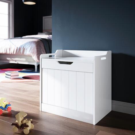 Large Kids Toy Box Seat White Wooden Storage Unit Chest Nursery Child's Bedroom