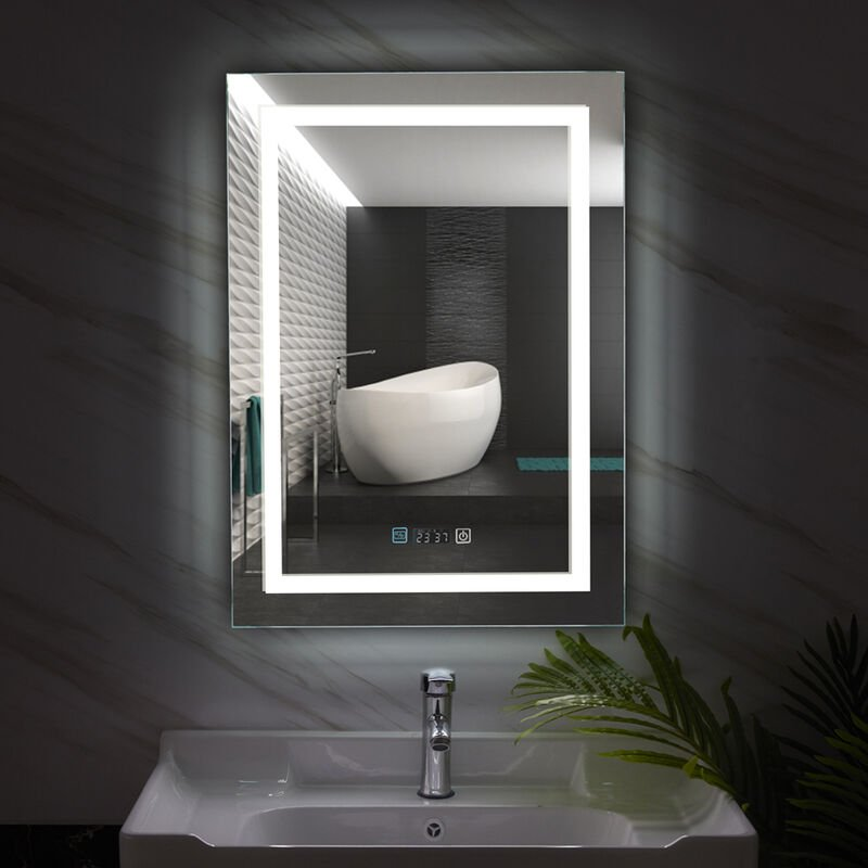 Image of Large LED Backlit Bathroom Anti-Fog Mirror Rectangle Light with Date Tempertuare Display, 500 x 700mm Vertical
