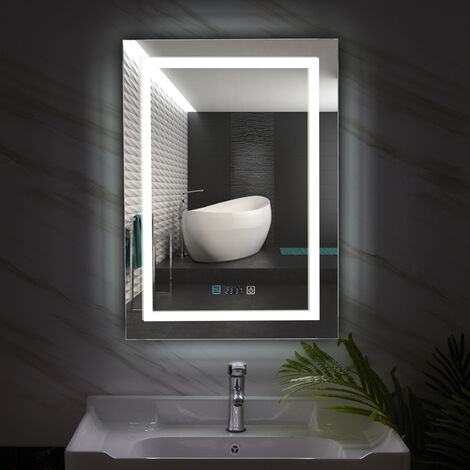 Large LED Backlit Bathroom Anti-Fog Mirror Rectangle Light with Date Tempertuare Display, different size available