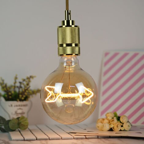"""main image of """"Large LED bulb E27, irregular bulb 3W of unusual shape, 2200K warm white, decorative lighting gold color 27CM, can be used as a pendant lamp, not dimmable [Energy class A ++]"""""""