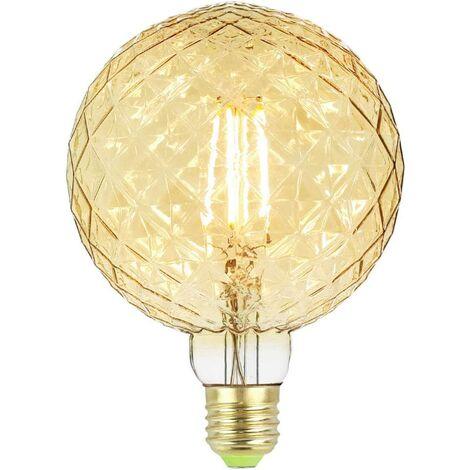 Large LED crystal Edison bulb - G125 - 4 W - 220/240 V - E27 - Vintage style - Filament - Decoration - Warm light 350 lm, Glass, amber, E27 4.00W 240.00V [Energy class A ++]