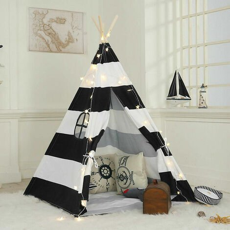 Large Linen Kids Teepee Tent Childrens Wigwam Garden Playground Play House Gifts,Black White Strip