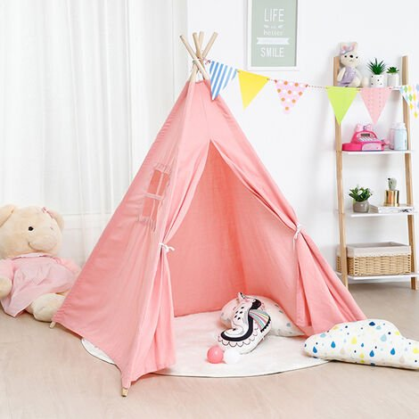 Large Linen Kids Teepee Tent Childrens Wigwam Garden Playground Play House Gifts,Pink