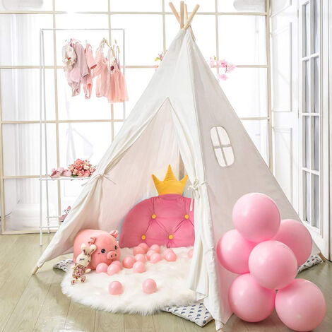 """main image of """"Large Linen Kids Teepee Tent Childrens Wigwam Garden Playground Play House Gifts,White"""""""