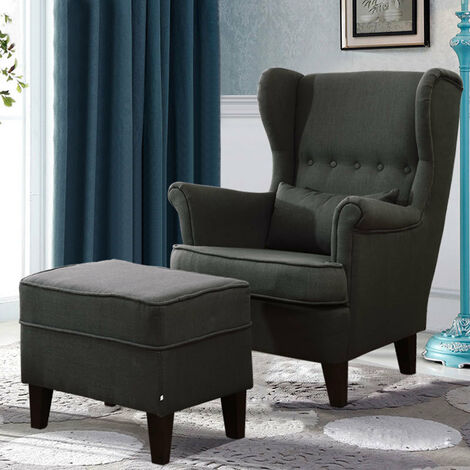 Large Linen Wingback Armchair with Footstool