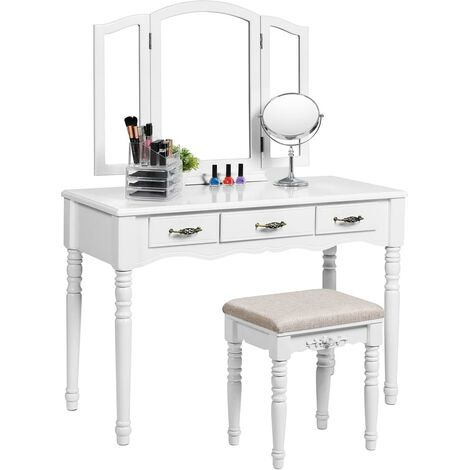 Large Make-up Dressing Table Set with Tri-fold Mirror and Cushioned Stool3 Drawers White RDT18W