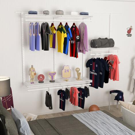 Large Metal Clothes Storage Organizer System Shelf Open Wardrobe Hanging Rail