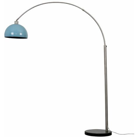 Large Modern Designer Curva Marble Floor Lamp With A Metal Dome Shade + 6W LED Gls Bulb