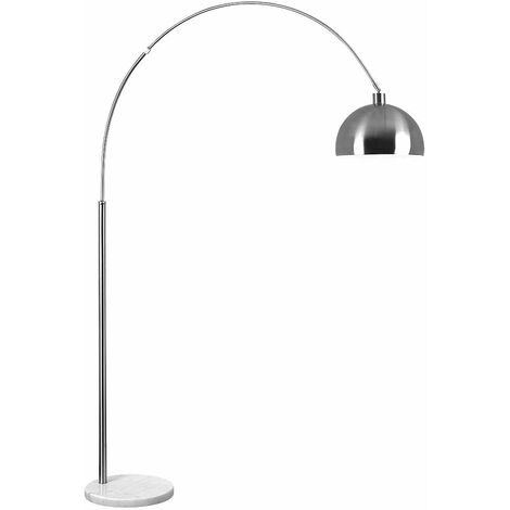 Large Modern Designer Curva Marble Floor Lamp With A Metal Dome Shade