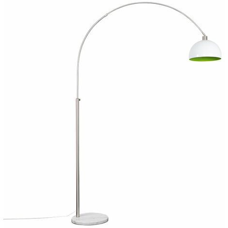 Large Modern Designer Curva Marble Floor Lamp With A & Metal Dome Shade