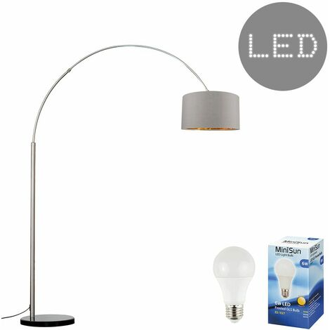 Large Modern Designer Curva Marble Floor Lamp With A & Metallic Shade - 6W LED Gls Bulb