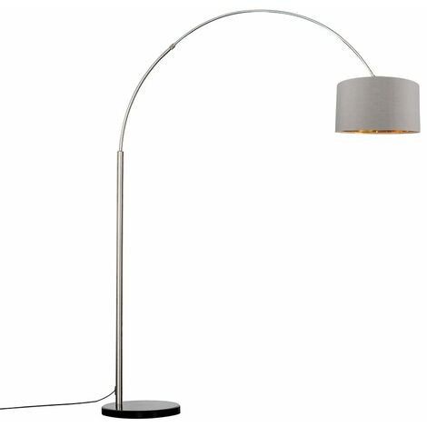 Large Modern Designer Curva Marble Floor Lamp With A & Metallic Shade