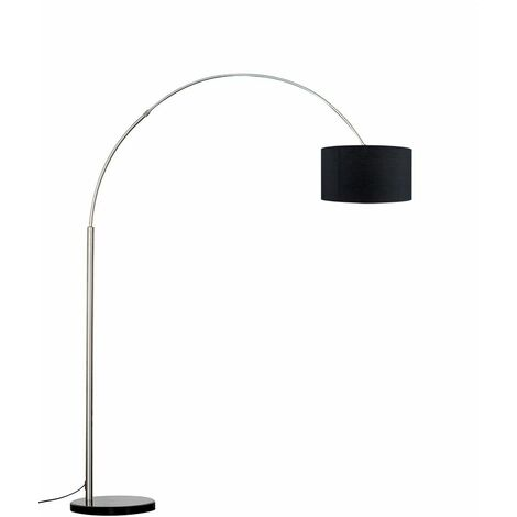 Large Modern Designer Curva Marble Floor Lamp With Shade - 6W LED Gls Bulb