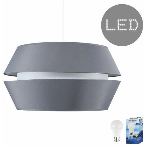 Large Modern Dual Tapered Ceiling Pendant Light Shade + 6W LED Gls Bulb - Add LED Bulb