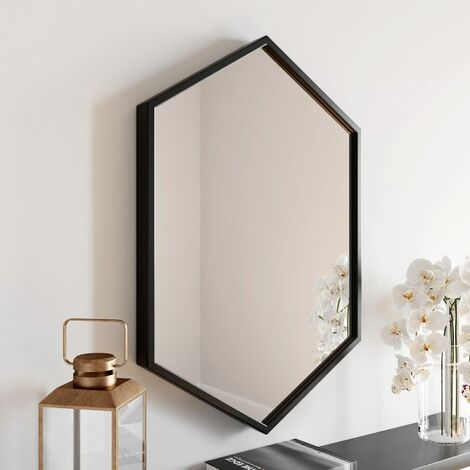 Large Modern Hexagonal Glass Mirror 75x50cm Black Iron Frame Wall Mounted Vanity