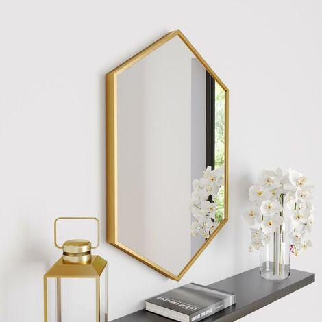 Large Modern Hexagonal Glass Mirror 75x50cm Brass Frame Wall Mounted Vanity