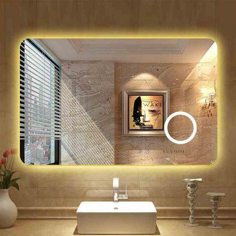 Large Modern Illuminated Bathroom Mirror w/ 3x Magnifier Wall Hung Makeup Mirror