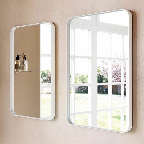 Large Modern Rectangular Framed Glass Mirror 75x50cm WhiteFrame Wall Mounted