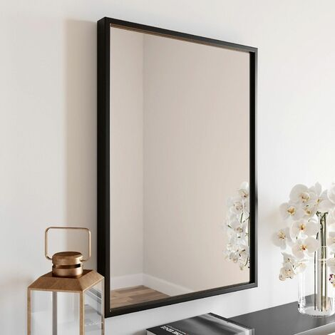Large Modern Rectangular Glass Mirror 70x50cm Black Frame Wall Mounted Vanity