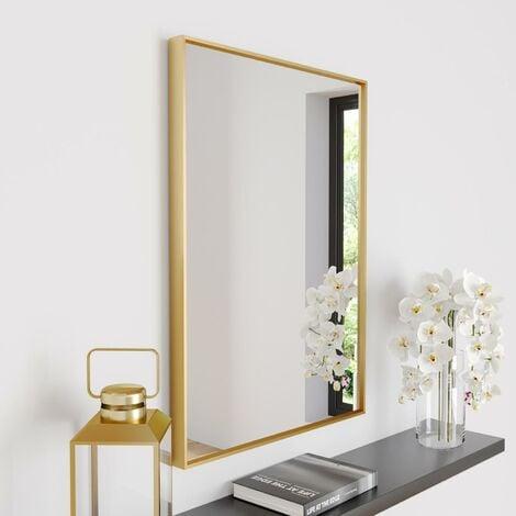 Large Modern Rectangular Glass Mirror Brass Frame Wall Mounted 70 x 50cm Vanity