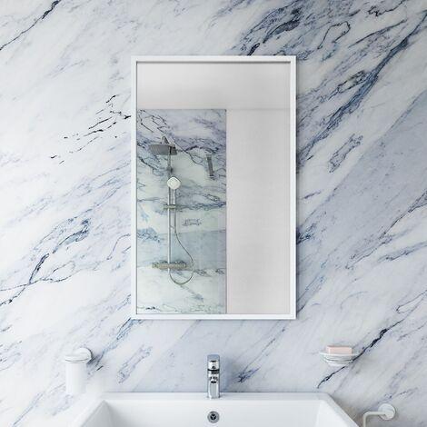Large Modern Rectangular Glass Mirror White Frame Wall Mounted 70 x 40cm Vanity