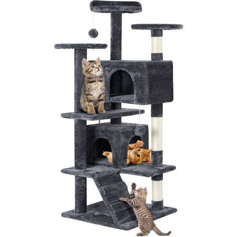 Large Multilevel Cat Tree Scratching Post Kitten Climbing Tower Activity Centre Dark Gray