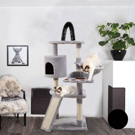 Large Multilevel Cat Tree Tower Cat Scratching Posts Climbing High-rise Condo, with Ball Toys Hammock And Self-Grooming Brush