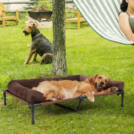 Large Orthopaedic Elevated Pet Dog Bed Raised Bolster Sofa with Fleece Cushion, different size available
